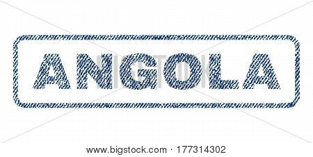 Angola text textile seal stamp watermark. Blue jeans fabric vectorized texture. Vector caption inside rounded rectangular banner. Rubber emblem with fiber textile structure.
