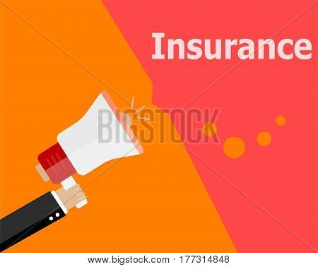 Flat Design Business Concept. Insurance Digital Marketing Business Man Holding Megaphone For Website