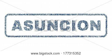 Asuncion text textile seal stamp watermark. Blue jeans fabric vectorized texture. Vector tag inside rounded rectangular shape. Rubber emblem with fiber textile structure.