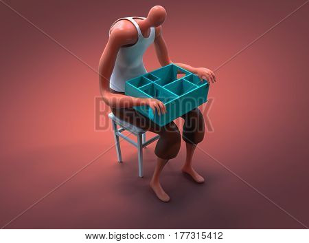 Cartoon Man Holding Miniature Of His New Apartament On Lap. 3D Illustration
