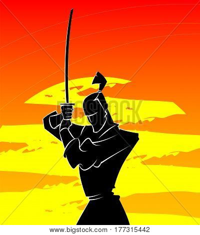 Silhouette of samurai who is ready to fight on sunlight background. Vector illustration