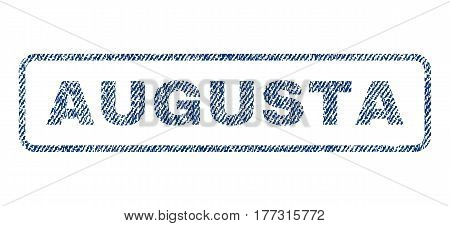 Augusta text textile seal stamp watermark. Blue jeans fabric vectorized texture. Vector caption inside rounded rectangular shape. Rubber emblem with fiber textile structure.