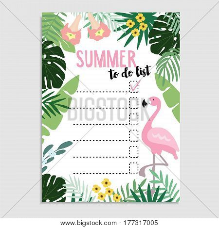 Summer greeting card, invitation. Wish list or to do list. Flamingo bird and palm leaves Web banner, background, stock vector illustration, flat design.