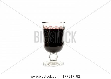 Glass Of Red Hot Mulled Wine Isolated On White Background