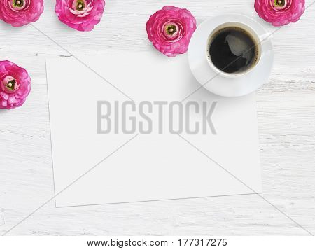 Styled stock photo. Feminine product mockup with buttercup flowers, Ranunculus, blank list of paper, cup of coffee and shabby white background. Flat lay, top view, picture for blog or social media.