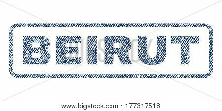 Beirut text textile seal stamp watermark. Blue jeans fabric vectorized texture. Vector tag inside rounded rectangular shape. Rubber emblem with fiber textile structure.