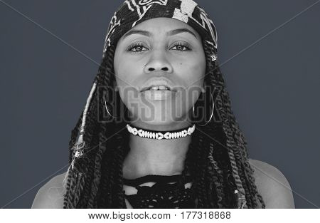 African Descent with Dreadlocks Staring