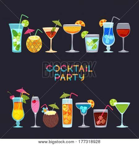 Tropical Cocktails, Juice, Wine And Champagne Glass Set On Black Background. Vector Hand Drawn Illus