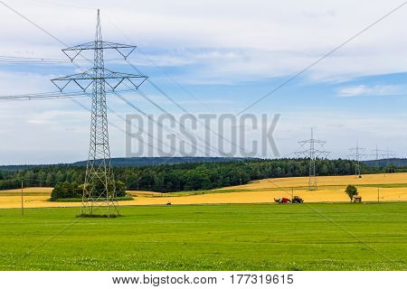 Electricity Pylon With Power Cables