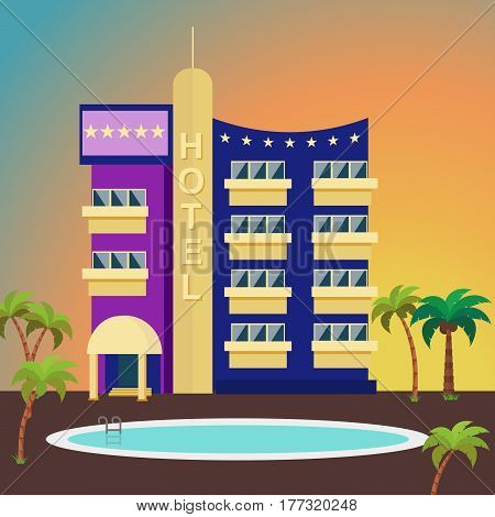 Luxurious hotel on a colorful background surrounded by palm trees and a swimming pool. Exterior of the building in a flat style. Five-star hotel for travelers and tourists