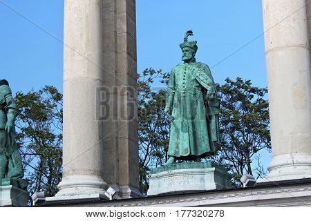 BUDAPEST, HUNGARY - AUGUST 08, 2012: Sculpture of Stephen Bocskai (Hollo Barnabas 1903). Millennium Monument on the Heroes Square. Stephen Bocskai was Prince of Transylvania and Hungary (1605-1606).