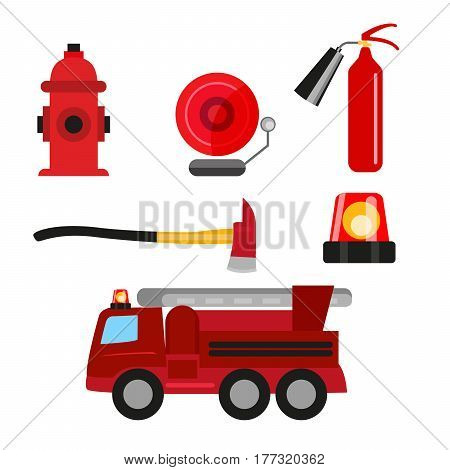 Fire safety icons set isolated on white background. Fire extinguisher, hydrant, fire alarm, ax and fire truck
