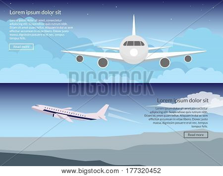 Travel on the plane set of banners in a flat style against the background of the evening sky. Passenger aircraft during flight and take-off. Header for the site with text and a button