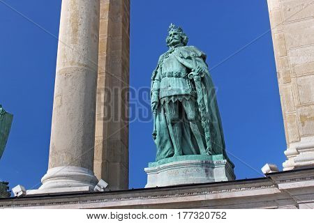 BUDAPEST, HUNGARY - AUGUST 08, 2012: Sculpture of king Louis I (Zala Gyorgy 1926). Millennium Monument on the Heroes Square. Louis I was King of Hungary from 1342 and King of Poland from 1370.