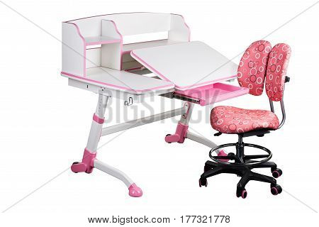 Pink school desk and pink chair stand on white isolated background