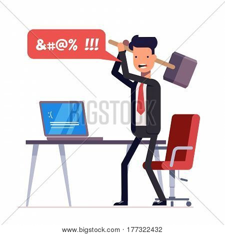 Broken computer with a blue screen of death. Computer virus. An angry businessman or manager with a sledgehammer in his hand expresses swearing. Flat illustration isolated on white background