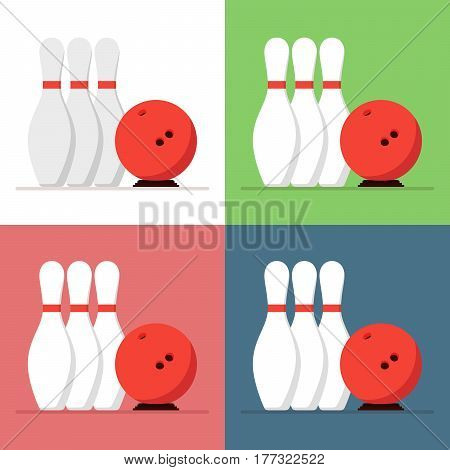 Bowling ball and skittles set isolated on a colored background in a flat style. Icon for the game club