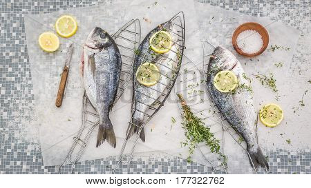 Freshly Caught Whole Sea Bream With Thyme And Salt