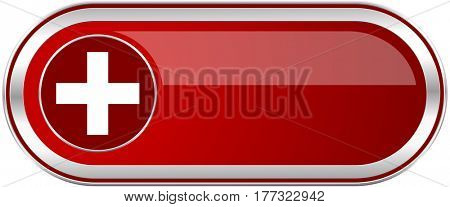Plus red long glossy silver metallic banner. Modern design web icon for smartphone applications
