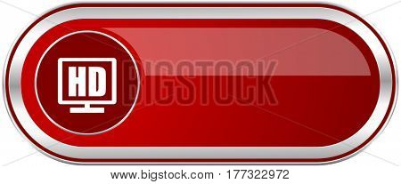Hd display red long glossy silver metallic banner. Modern design web icon for smartphone applications