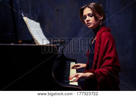 Side mid shot of sophisticated female reproducing her favorite piece of music surrounded by mysterious atmosphere. Playing solo without any accompaniment