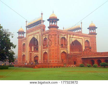Taj Mahal mausoleum entrance in Agra India