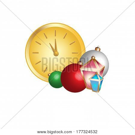 Vector drawing of clock and fur-tree toys and garlands