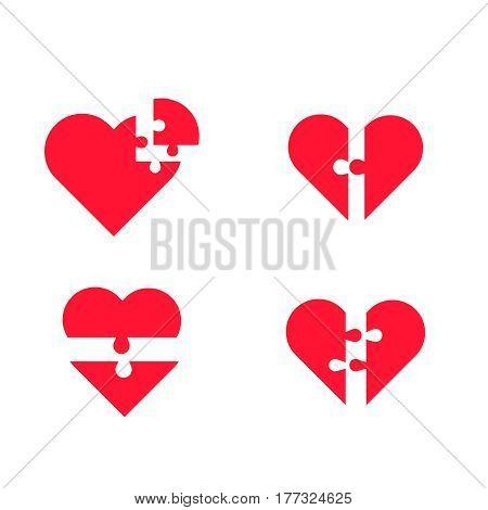 puzzle heart vector set . Simple puzzle hearts