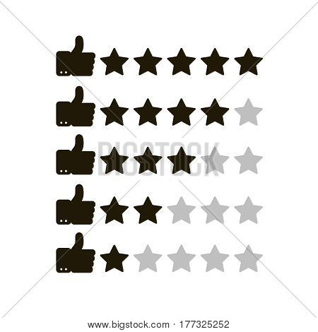 Thumb up and  stars. Set of rating icons