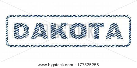 Dakota text textile seal stamp watermark. Blue jeans fabric vectorized texture. Vector tag inside rounded rectangular banner. Rubber sticker with fiber textile structure.