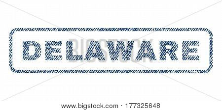 Delaware text textile seal stamp watermark. Blue jeans fabric vectorized texture. Vector tag inside rounded rectangular shape. Rubber emblem with fiber textile structure.