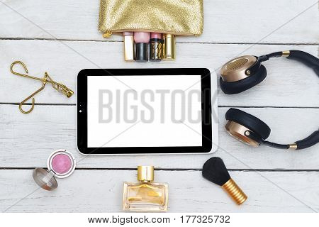 Fashion mockup with business lady accessories and electronic devices.