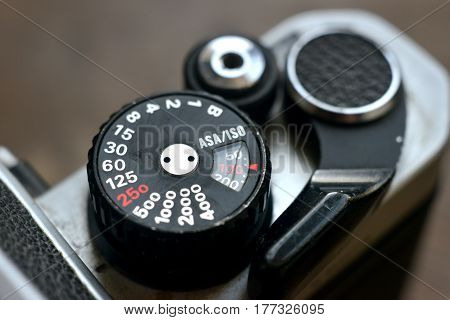 close up of vintage camera dials and shutter release