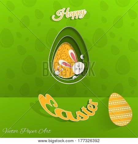 Vector poster of Happy Easter on the gradient green background with rabbit hole yellow egg with pattern egg pattern and yellow outline text cut from paper.