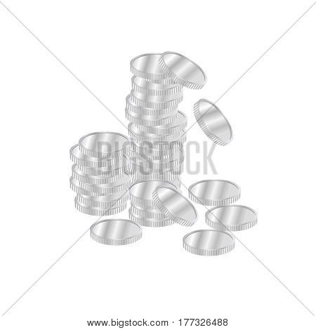 Silver coins pile vector. Realistic silver coins isolated on white