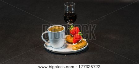 Black Coffee In White Cup, With Croissants On Saucer, Liqueur, Strawberry