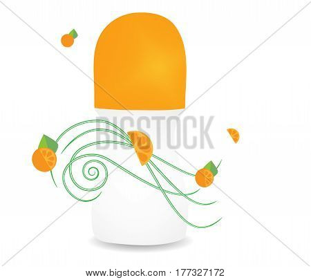 Vector drawing of a deodorant with aroma of orange freshness