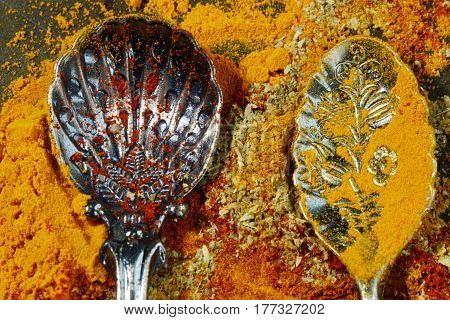 Yellow Turmeric Red paprika and coriander powder with empty spoons on rustic background selective focus.