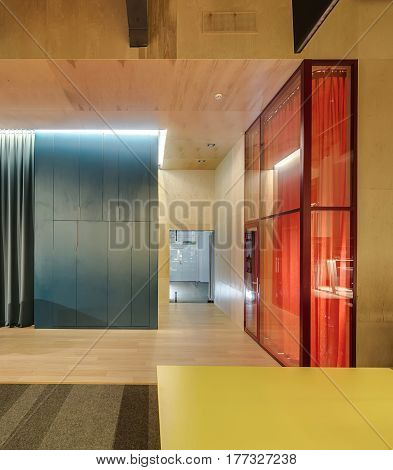 Luminous hall in the modern office with wooden walls and a parquet with a carpet on the floor. There is a glass wall with a door to the next room with an orange curtain inside, big locker, table.