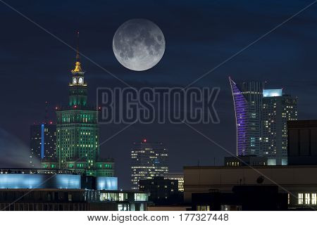 Full moon over Warsaw city a capital of Poland