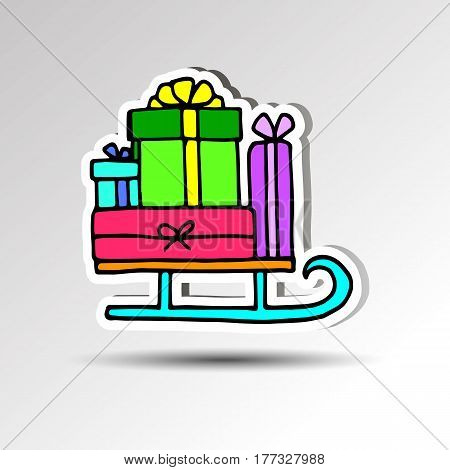 gift decoration celebration illustration holiday christmas sleigh santa winter