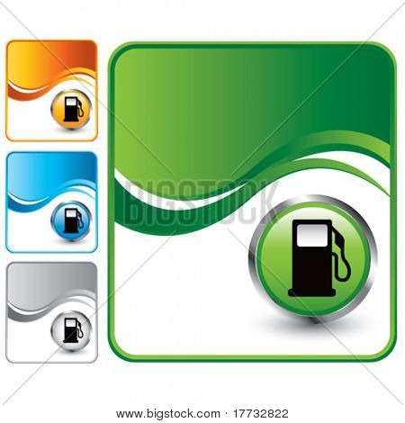 gas pump icon colored wave backgrounds