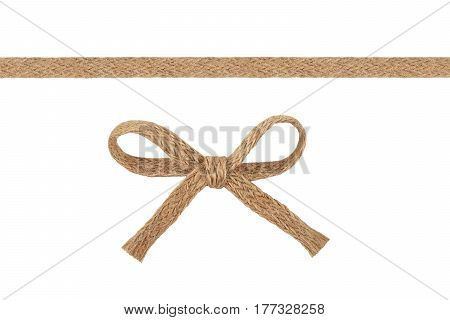 Burlap woven ribbon and bow isolated on white background