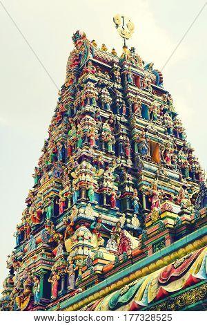 KUALA LUMPUR, JANUARY 10, 2017 - Sri Mahamariamman Indian Temple in Kuala Lumpur, Malaysia, Asia