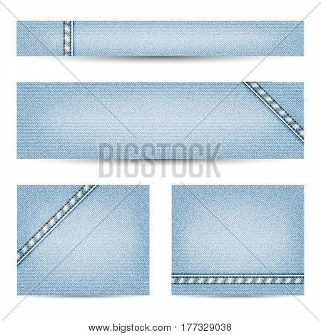 light blue denim texture vector bunner set with double stitching elements