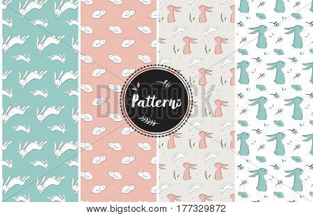 set of childish patterns with cute rabbitsvector illustration for easter holiday
