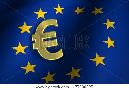European union flag and euro sign gold icon and EU community market symbol 3d illustration concept background.