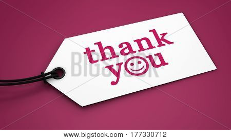 Thank you sign and text customer thanking phrase on a paper label tag 3D illustration.