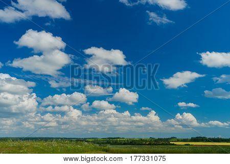 Big blue skies over rural Prince Edward Island, Canada.