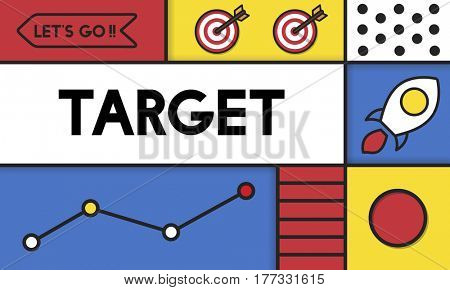 Target Strategy Marketing Vision Word Icon